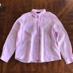 Zara pink linen long sleeve pinstripe shirt L